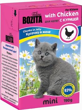 Консервы для котят Bozita mini, мясные кусочки в желе, с курицей, 190 г2106Консервы Bozita mini - это полнорационное влажное питание супер премиум класса для котят. Содержит 93% свежего шведского мяса, которое никогда не было заморожено. Состав: 93% свежего мяса: курица (92% в каждом кусочке), свинина, карбонат кальция, дрожжи MacroGard. Добавки на кг: витамин А 2000 МЕ, витамин D3 200 МЕ, витамин Е 12 мг, таурин 700 мг, медь 2 мг (сульфат меди-(II), пентагидрат), марганец 1,8 мг (оксид марганца -II и -III), цинк 14 мг (сульфат цинка, моногидрат), йод 0,1 мг (йодат кальция, моногидрат). Анализ: белок 8,5%, жир 4,5%, клетчатка 0,5%, зола 2,3% (кальций 0,35%, фосфор 0,3%, магний 0,02%), влага 83%. Питание не содержит ГМО. Энергетическая ценность: 280 кДж/100г. Вес: 190 г.Товар сертифицирован.