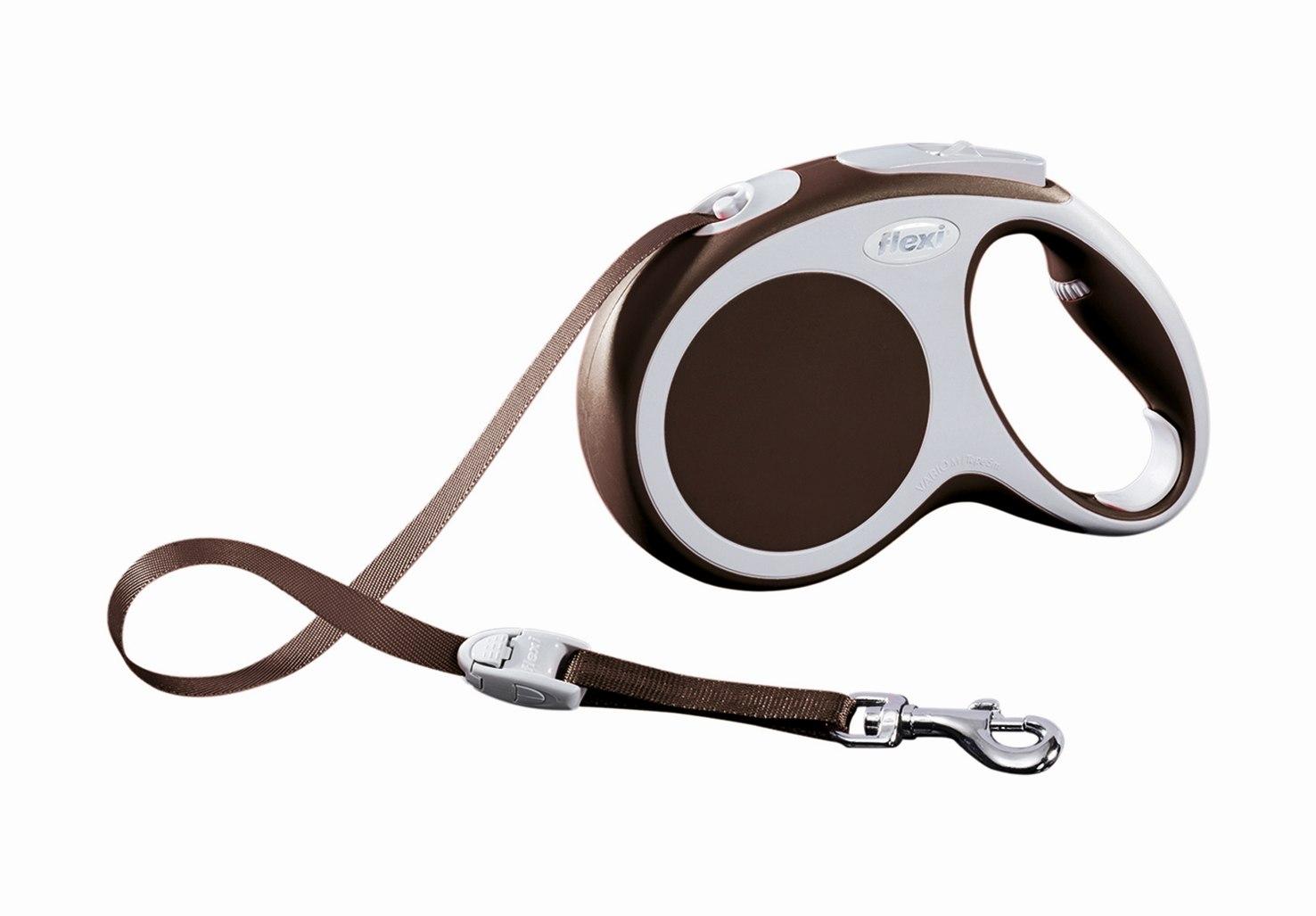 Поводок-рулетка Flexi Vario Compact М для собак до 25 кг, цвет: коричневый, 5 м поводок рулетка freego гепард для собак до 12 кг размер s цвет бежевый коричневый 3 м