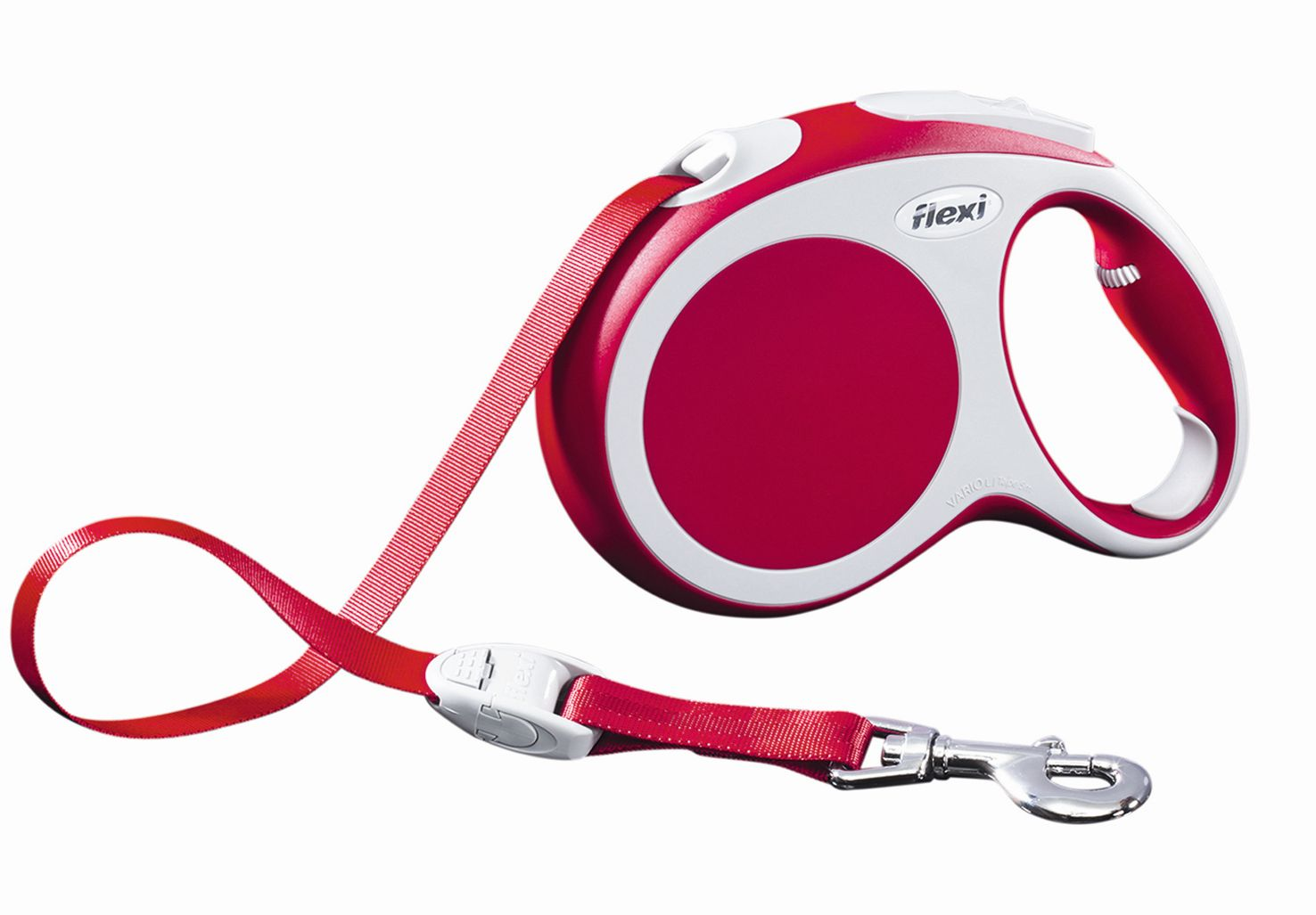 Поводок-рулетка Flexi Vario Compact L для собак до 60 кг, цвет: красный, 5 м020890Поводок-рулетка Flexi Vario Compact L изготовлен из пластика и нейлона.Подходит для собак весом до 60 кг. Ленточный поводок обеспечивает каждойсобаке свободу движения, что идет на пользу здоровью и радует вашегочетвероногого друга. Рулетка очень проста в использовании. Она оснащенакнопками кратковременной и постоянной фиксации. Ее можно оснаститьмультибоксом для лакомств или пакетиков для сбора фекалий, LED подсветкойкорпуса, своркой или ремнем с LED подсветкой. Поводок имеет прочный корпус,хромированную застежку и светоотражающие элементы. Длина поводка: 5 м.Максимальная нагрузка: 60 кг.Товар сертифицирован.