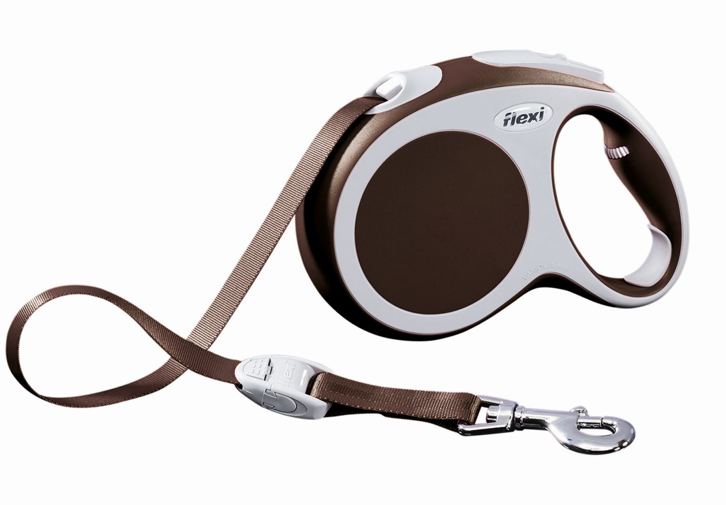 Поводок-рулетка Flexi Vario Compact L для собак до 60 кг, цвет: коричневый, 5 м поводок рулетка freego гепард для собак до 12 кг размер s цвет бежевый коричневый 3 м