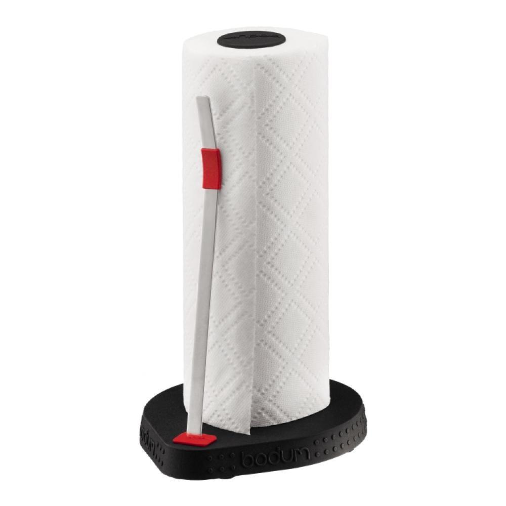 Держатель для бумажных полотенец Bodum Bistro, цвет: черный, высота 26,5 см11232-01Держатель Bodum Bistro предназначен для бумажных полотенец. Он изготовлен из высококачественного пластика и оснащен фиксатором для полотенец. Круглое основание обеспечивает устойчивость держателя. Вы можете установить его в любом удобном месте. Такой держатель для бумажных полотенец станет полезным аксессуаром в домашнем быту и идеально впишется в интерьер современной кухни.Высота держателя: 26,5 см.Диаметр основания держателя: 16 см.УВАЖАЕМЫЕ КЛИЕНТЫ!Обращаем ваше внимание на тот факт, что бумажные полотенца в комплект не входят, а служат для визуального восприятия товара.