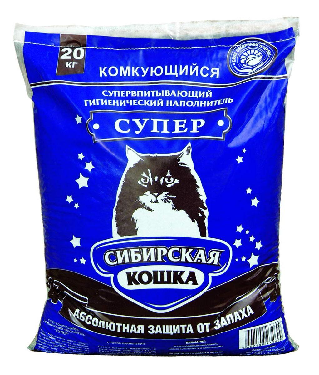 Наполнитель для кошачьих туалетов Сибирская Кошка Супер, комкующийся, 20 кг наполнитель для кошачьих туалетов кошкин секрет древесный 2 5 кг