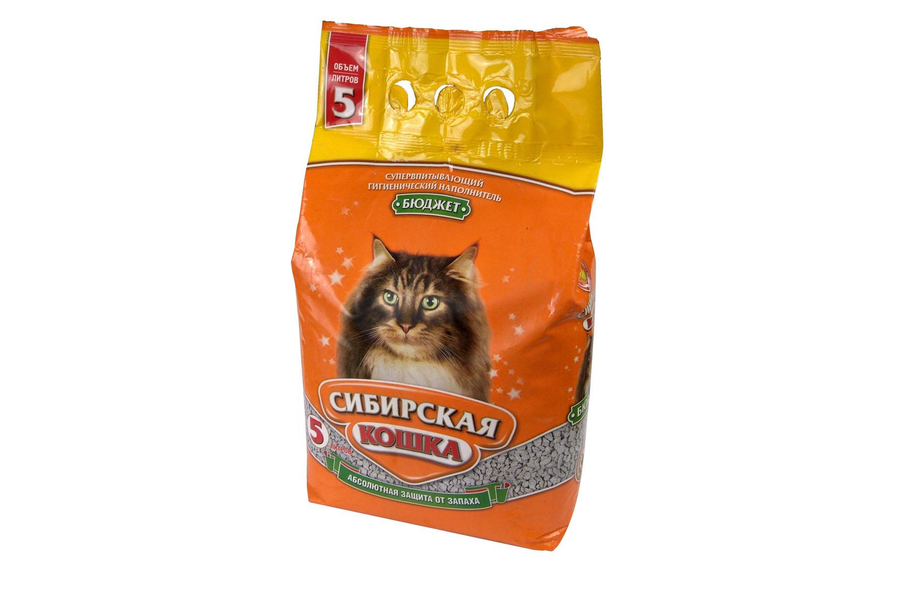 Наполнитель для кошачьих туалетов Сибирская Кошка Бюджет, 5 л наполнитель для кошачьих туалетов кошкин секрет древесный 2 5 кг