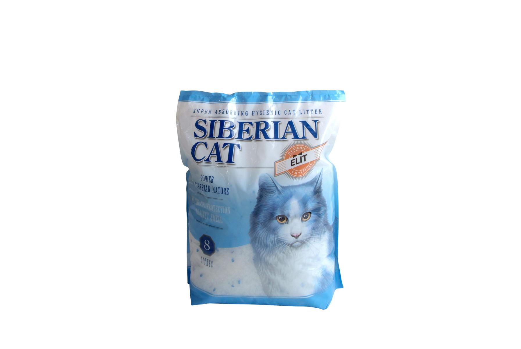 Наполнитель для кошачьих туалетов Сибирская кошка Элитный, силикагелевый, 8 л наполнитель для кошачьих туалетов кошкин секрет древесный 2 5 кг