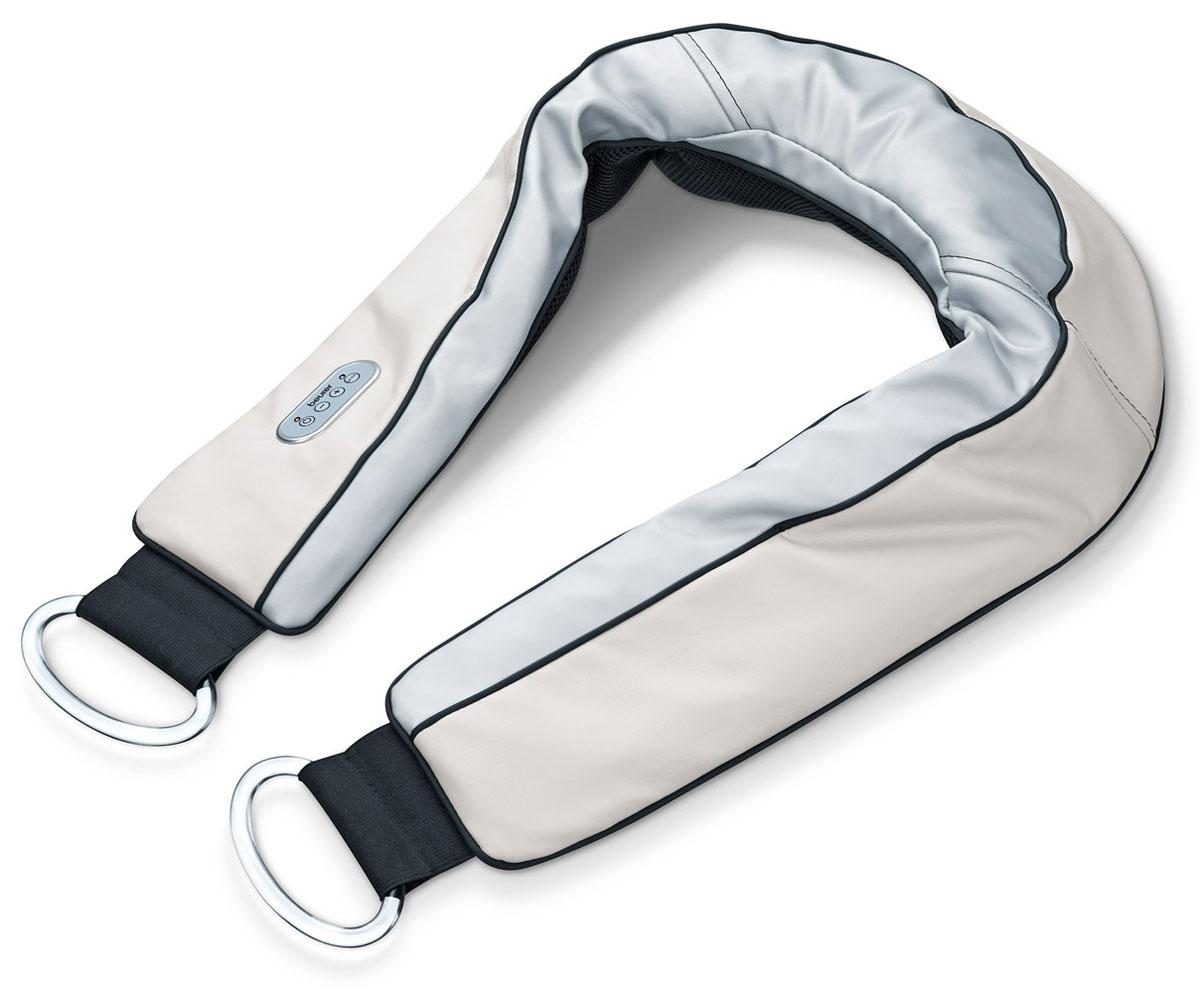 Массажер для шеи Beurer MG1501092043Beurer MG150 – массажер для шейного-плечевого отдела позволяющий делать похлопывающий, глубокий, интенсивный массаж шеи и плеч, мощностью 60 Вт. Он имеет удобную ручку и шесть программ массажа. С помощью Beurer MG150 можно делать целенаправленный массаж в самых труднодоступных участках шейно-плечевого отдела. Снимает напряжение в глубоких слоях мышц.6 программ массажаПрактичная ручкаВозможно использование без рукАвтоматическое отключение