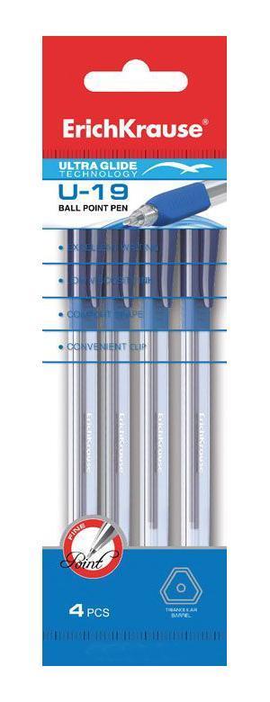 Ручка шариковая Erich Krause Ultra Glide Technology U-19, цвет: синий, 4 штEK33526Шариковая ручка Erich Crause Ultra Glide Technology U-19 имеет современный дизайн и обеспечивает мягкое и четкое письмо практически на любой бумаге. Трехгранный корпус ручки изготовлен из прозрачного пластика, что позволяет контролировать уровень чернил. Прорезиненная вставка в области захвата предотвращает скольжение пальцев во время работы и создает дополнительный комфорт при письме. Уникальная технология Ultra Glide позволяет долго и легко писать практически без усилий. Ручка оснащена плотно закрывающимся колпачком с клипом, который предотвращает преждевременное высыхание чернил. В комплекте четыре ручки синего цвета. Характеристики:Материал корпуса: пластик, резина. Длина ручки с колпачком: 14 см. Толщина линии: 0,6 мм. Цвет чернил: синий. Изготовитель:Индия.