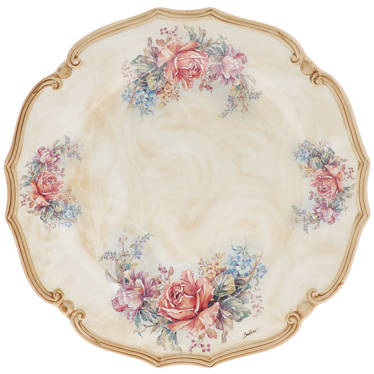 Блюдо LCS Элианто, диаметр 36,5 смLCS039-EL-ALКруглое блюдо Элианто, изготовленное из керамики, станет достойным украшением вашего стола. Блюдо с рельефными краями выполнено в бежево-коричневой гамме с нанесением цветочного рисунка. Изящный дизайн и красочность оформления придутся по вкусу и ценителям классики, и тем, кто предпочитает утонченность и изысканность. Блюдо Элианто украсит сервировку вашего стола и подчеркнет прекрасный вкус хозяина, а также станет отличным подарком.