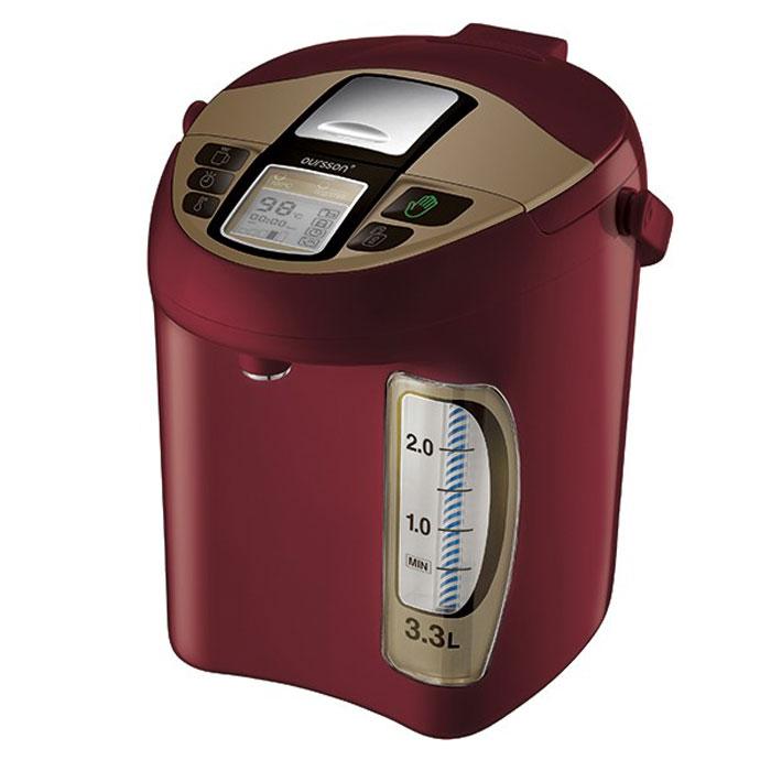 Oursson TP3310PD/DC, Dark Cherry термопот7640152894121Термопот Oursson - универсальный прибор, совмещает функцию чайника и термоса. В этом устройстве можно не только вскипятить воду, но и длительное время поддерживать температуру, выбрав один из пяти температурных режимов. Таким образом, если Вам повторно захочется чая, кипятить не придется - вода в термопоте по-прежнему будет горячей. Да и наливать удобно - не надо устройство подымать, наклонять, достаточно просто нажать на кнопку. У этого прибора есть еще несколько плюсов: он потребляет мало электроэнергии, а объем как минимум в два раза больше, чем у стандартного чайника. Вам осталось только выбрать один из цветов представленной палитры и уточнить объем.