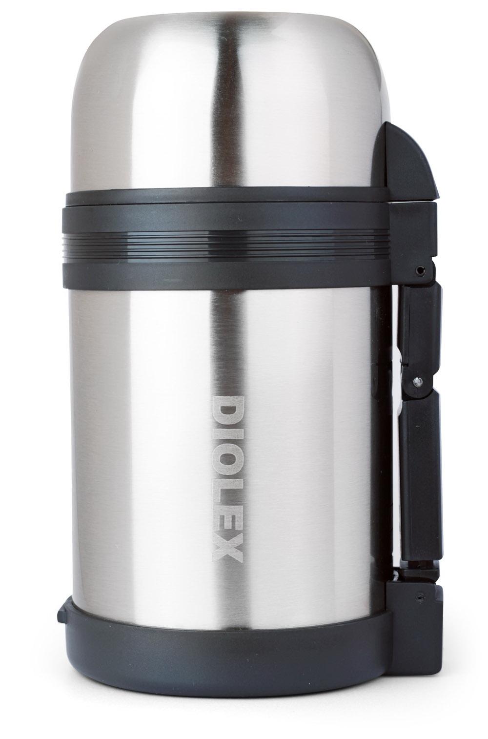 Термос универсальный Diolex, 0,6 лDXU-600-1Термос Diolex изготовлен из высококачественной нержавеющей стали и пластика. Двойная внутренняя колба обеспечивает долгое сохранение температуры содержимого. Термос вакуумный, он плотно закрывается специальным клапаном и дополнительно закручивается крышкой. Пластиковая подвижная ручка и ремешок для переноски делают использование термоса легким и удобным. Термос подходит как для хранения жидкостей, так и пищи. Для еды в комплекте предусмотрен специальный пластиковый контейнер белого цвета. Термос сохраняет напитки и продукты горячими или холодными долгое время.Легкий и прочный термос Diolex идеально подойдет для отдыха и путешествий. Высота термоса (с учетом крышки): 19 см. Диаметр основания: 10,5 см.