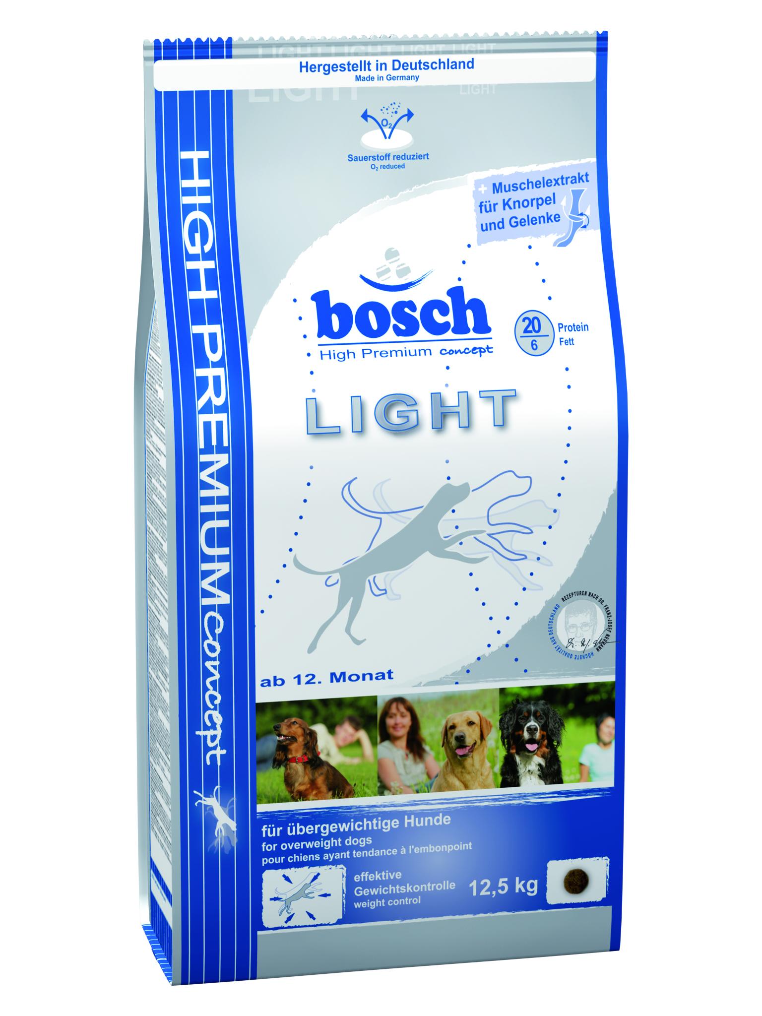 Сухой_корм_Bosch_~Light~_-_низкокалорийный_сухой_корм_с_пониженным_содержанием_жиров_и_высоким_содержанием_клетчатки._Этот_рацион_предназначен_для_собак,_склонных_к_полноте,_и_собак_с_избыточным_весом.Корм_содержит_все_необходимые_питательные_компоненты,_обеспечивающие_отличное_состояние_здоровья._Сокращение_получаемой_энергии_за_счет_уменьшения_протеина_и_жиров_при_том_же_объеме_корма,_позволяет_собаке_сохранять_форму,_не_испытывая_постоянного_чувства_голода.Прекрасно_подходит_для_кормления_собак_в_летний_период._Ингредиенты:_мясо_домашней_птицы,_рис,_ячмень,_кукуруза,_пшеничные_отруби,_пшеница,_свекольная_пульпа,_клетчатка,_гидролизованное_мясо,_рыбная_мука,_мука_из_свежего_мяса,_животный_жир,_рыбий_жир,_горох,_дрожжи,_поваренная_соль,_хлорид_калия,_мука_из_мидий,_порошок_цикория.Добавки:_витамин_А_-_12000_ME,_витамин_D3_-_1200_ME,_витамин_Е_-_70_мг,_медь_(в_форме_сульфата_меди_(II),_пентагидрат)_-_10_мг,_цинк_(в_форме_окиси_цинка)_-_70_мг,_цинк_(в_аминокислотной_хелатной_форме,_гидрат)_-_60_мг,_йод_-_2_мг,_селен_-_0,2_мг,_антиоксидант.Процентное_содержание:_протеин_-_20%25,_жир_-_6%25,_клетчатка_-_7%25,_минеральные_вещества_-_5%25,_влажность_-_10%25,_экстрактивные_вещества,_не_содержащие_азот_-_52%25.Товар_сертифицирован.__Уважаемые_клиенты!_Обращаем_ваше_внимание_на_возможные_изменения_в_дизайне_упаковки._Качественные_характеристики_товара_остаются_неизменными._Поставка_осуществляется_в_зависимости_от_наличия_на_складе.