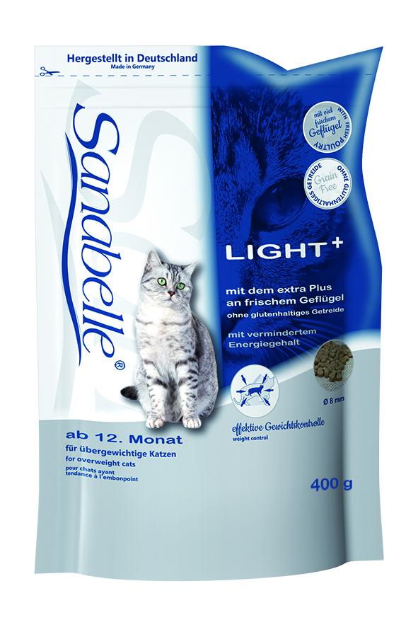 Корм сухой Sanabelle Light + для кошек с избыточным весом, 400 г57844Полностью сбалансированный высококачественный сухой корм для взрослых кошек, склонных к избыточному весу после кастрации (стерилизации) кошек, ведущих малоподвижный образ жизни. Сбалансированный состав помогает кошке сохранить идеальный вес. Небольшое содержание при высочайшем качестве протеина снижает нагрузку на печень. Балластные вещества стабилизируют кишечную флору испособствуют правильной работе пищеварительной системы.Низкая калорийностьпри нормальном содержании протеина. Корм для кошек Sanabelle Light + позволяет сохранить и поддерживать идеальный вес, тем самым смягчает нагрузку на кости, суставы, мышцы и внутренние органы животного. Низкая калорийность Sanabelle Light + достигается путем процентного снижения количества жиров при нормальном содержании протеина. Такое сочетание позволяет использовать этот корм не только для снижение веса, но и для повседневного кормления кастрированных, малоподвижных и склонных к полноте кошек. Гармоничное сочетание таурина, жирных кислот (Омега 3, Омега 6) и цинка ( в легко усваиваемой форме хелатов) способствует сохранению эластичности кожи, придает блеск шерсти, сохраняет зрение и поддерживает естественную сопротивляемость организма. Использование растительных волокон и жиров уменьшает вероятность слипания попавшей в желудок шерсти и облегчает выход уже образовавшихся волосяных шаров. Балластные вещества способствуют стабилизации кишечной флоры и правильной работе пищеварительной системы. Особые компоненты препятствуют образованию камней путем снижения рН мочи (до 6-6,5) в сочетании со специальным водным транзит-агентом, который способствует естественному поглощению кошкой достаточного количества воды. Ингредиенты: мука из свежего мяса домашней птицы, маис, ячмень, рис, мука из печени, рыбная мука, гидролизованное мясо, целлюлоза, мука из свежего мяса, цельное яйцо (высушенное), животный жир, льняное семя, свекольная пульпа, сухие дрожжи, рыбий жир, карб