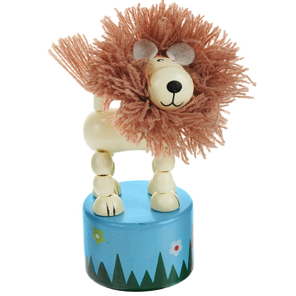 Mapacha Игрушка деревянная Танцующий лев с гривой, цвет: бежевый, голубой колье танцующий мишка