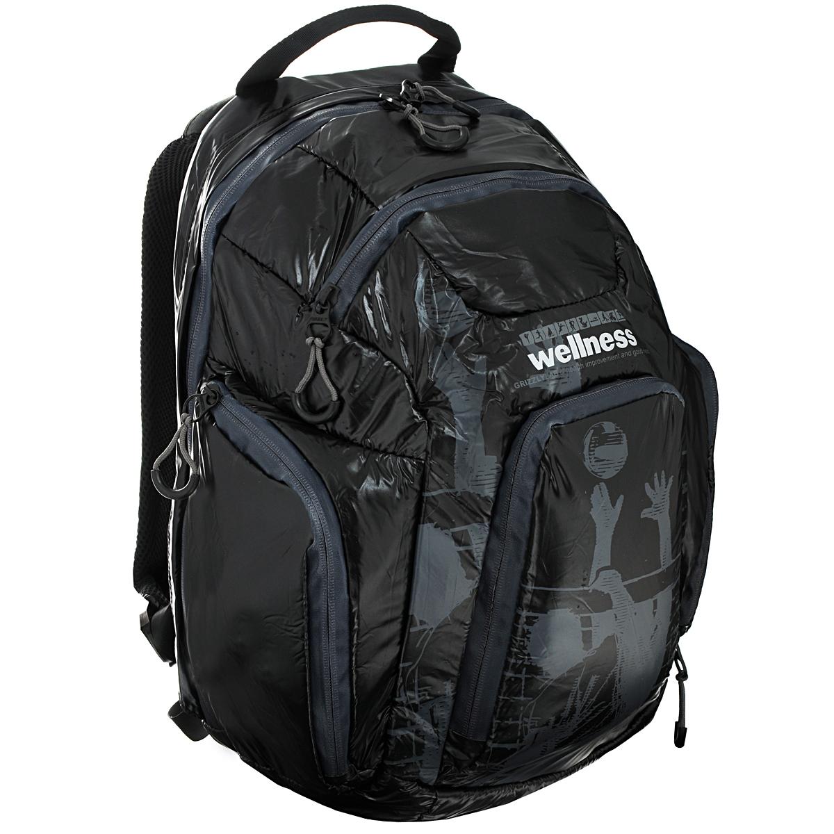 Рюкзак молодежный Grizzly, цвет: черный, серый. RU-417-1RU-417-1 Рюкзак /2 черный - серыйСтильный молодежный рюкзак Grizzly выполнен из нейлона черного цвета и оформлен оригинальным принтом. Рюкзак оснащен одним большим отделением, закрывающимся на застежку-молнию. На передней стенке расположено 2 кармана, закрывающихся на застежки-молнии. По бокам 2 объемных кармана с застежками-молниями. Внутри расположен карман. Рюкзак оснащен лямками, мягкой спинкой и текстильной ручкой для удобной переноски.