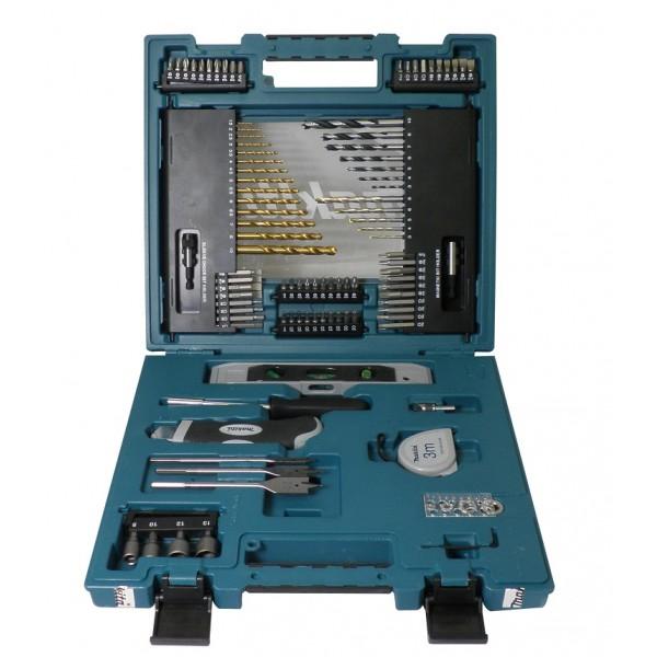 Набор оснастки Makita, 104 предмета164766Набор оснастки Makita предназначен для работы с резьбовыми соединениями, а также для строительных работ. Инструменты выполнены из высококачественной стали. Состав набора: Сверла перьевые: 8 мм, 15 мм, 20 мм. 4 ограничителя глубины. Инструмент для измерения диаметра сверл. Зенкер. Сверла по бетону: 3 мм, 4 мм, 5 мм, 6 мм, 8 мм. Сверла по дереву: 3 мм, 4 мм, 5 мм, 6 мм, 7 мм, 8 мм, 10 мм. Сверла по металлу: 1,5 мм, 2 мм, 2,5 мм, 3 мм, 3,5 мм, 4 мм, 4,5 мм, 5 мм, 5,5 мм, 6 мм, 6,5 мм, 7 мм, 8 мм, 10 мм. Рулетка. Нож со сменными лезвиями. Уровень. Отвертка. Биты 25 мм:PZ1 x 2, PZ2 x 3, PZ3 x 3, PZ4 x 2, T20 x 3, T25 x 3, T30 x 2, T40 x 2, PH1 x 2, PH2 x 3, PH3 x 3, PH4 x 2, H3, H4, H5, H6, SL1 x 2, SL1,2 x 2, SL1,6. Биты 50 мм: SL1, SL1,2 x 2, SL1,6, H3, H4, H5, H6, T40, T30, T25, T20, PZ4, PZ3, PZ2, PH4, PH3, PH2.