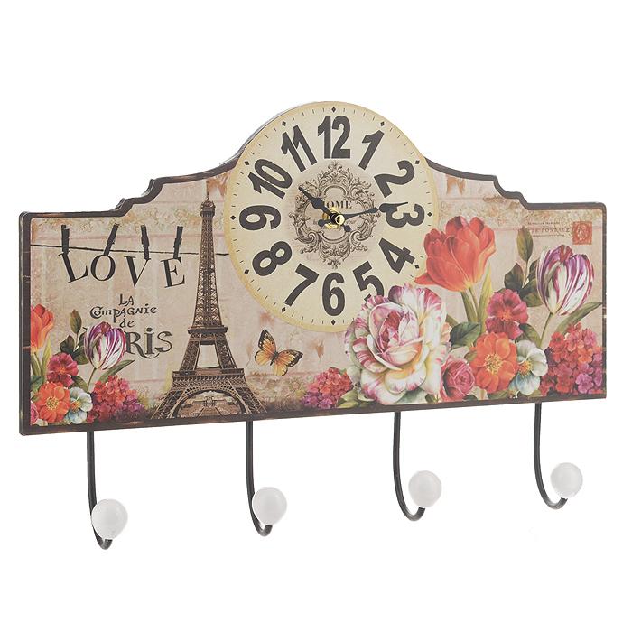 Часы настенные Весенний Париж, с крючками. 3582735827Настенные часы Весенний Париж станут ярким элементом декора в гостиной, прихожей или на кухне. Часы, выполненные из МДФ, оформлены изображением цветов и Эйфелевой башни. Часы имеют две фигурные стрелки - часовую и минутную. Круглый циферблат оформлен крупными арабскими цифрами. Часы оснащены четырьмя прочными металлическими крючками с пластиковыми насадками белого цвета. С задней стороны имеются петельки для подвешивания на стену. Настенные часы Весенний Париж станут не только оригинальным украшением интерьера комнаты, но и прекрасным подарком, который обязательно понравится получателю. Размер часов (с крючками) (ДхШ): 40 см х 27 см.Толщина корпуса: 0,9 см.Диаметр циферблата: 14,5 см.Часы работают от одной батарейки типа АА (в комплект не входит).