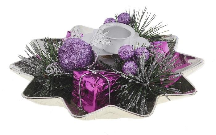 Подсвечник Sima-land Ягодки, цвет: фиолетовый, серебристый. 542640 подсвечник sima land крест