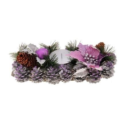 Подсвечник Sima-land Цветок, цвет: фиолетовый, серебристый, 28 см х 13 см. 717993 корзина для белья sima land день стирки цвет розовый 35 см х 35 см х 55 см