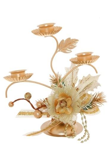 Подсвечник Sima-land Золотые веточки, на 3 свечи, цвет: золотистый. 706010706010