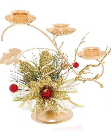 Подсвечник Sima-land Ягодки, на 3 свечи, цвет: золотистый. 706016 подсвечник sima land крест