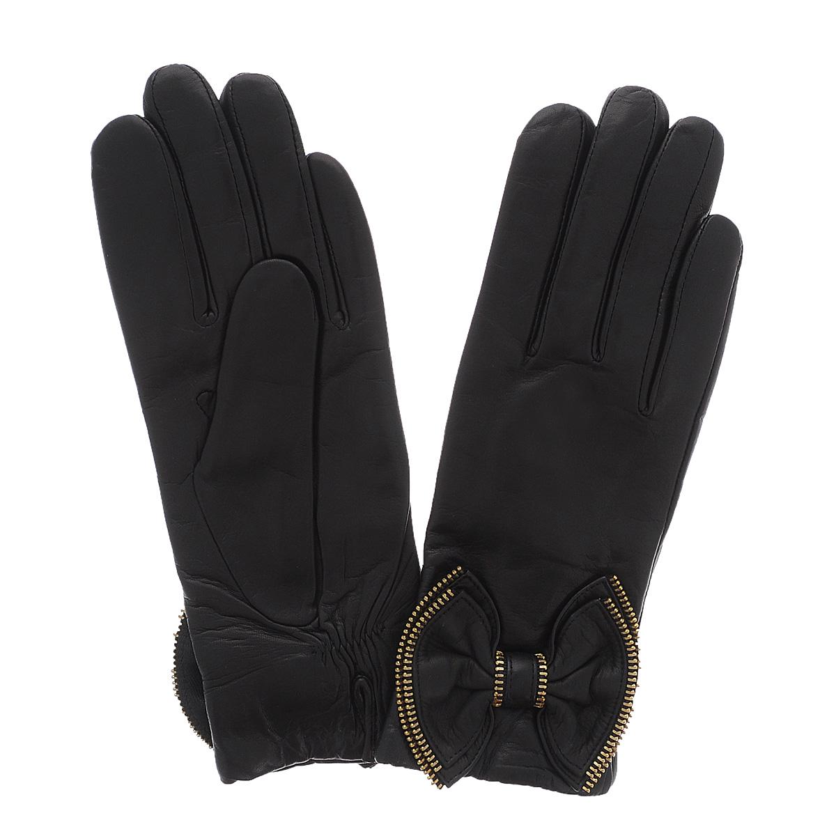 Перчатки женские Dali Exclusive, цвет: черный. 11_ZORE/BL. Размер 811_ZORE/BLСтильные перчатки Dali Exclusive с подкладкой из шерсти выполнены из мягкой и приятной на ощупь натуральной кожи ягненка.Лицевая сторона декорирована бантиками с отделкой металлической молнией. На манжете с внутренней стороны предусмотрен небольшой разрез. Такие перчатки подчеркнут ваш стиль и неповторимость и придадут всему образу нотки женственности и элегантности.
