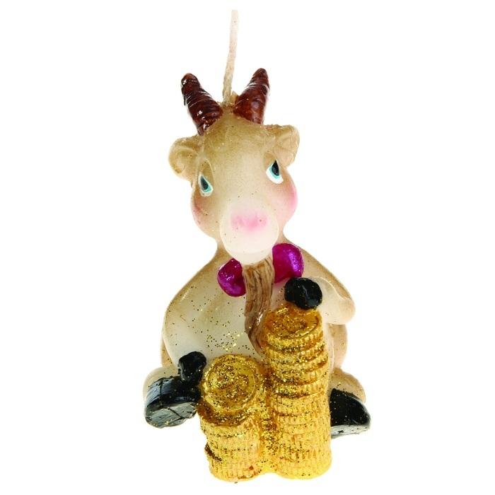 Свеча декоративная Sima-land Коза-банкир. 823798 сувенир sima land обезьянка в шарфике цвет желтый 7 х 5 7 х 8 5 см