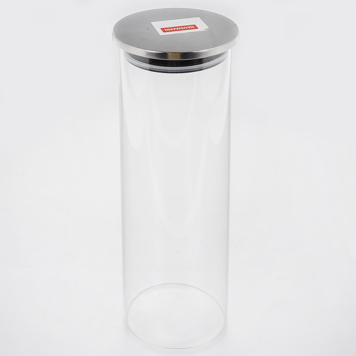 Емкость для хранения Hausmann, 1,59 л1004441Емкость для хранения Hausmann изготовлена из высококачественного стекла. Изделие оснащено герметичной металлической крышкой. Благодаря уплотнительной резинке, крышка плотно закрывается, дольше сохраняя продукты свежими и ароматными. Изделие прекрасно подходит для хранения круп, спагетти, чая, кофе, сахара, орехов и других сыпучих продуктов. Подходит для мытья в посудомоечной машине.