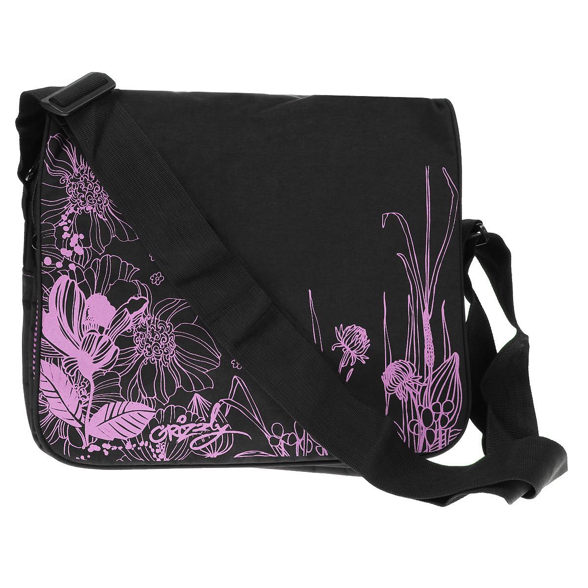 Сумка молодежная Grizzly, цвет: черный, розовый. MD-353-4MD-353-4Молодежная женская сумка Grizzly выполнена из прочного материала и оформлена оригинальным принтом в виде ярких цветов.Сумка состоит из двух отделений, закрывающихся на застежки-молнии, а сверху клапаном на липучках. Внутри одного отделения расположен широкий карман на застежке-молнии. Второе отделение можно использовать для переноски ноутбука или планшета.На внешней стороне сумки под клапаном находятся сетчатый карман на застежке-молнии, кармашек без застежек и фиксатор для пишущих принадлежностей.Сумка оснащена плечевым ремнем, регулируемым по длине.Такая сумка подчеркнет ваш образ и выделит вас из толпы.Размер сумки: 33,5 см х 28 см х 10 см.