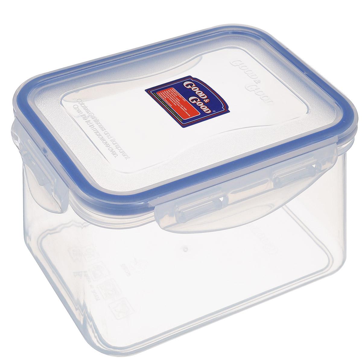 Контейнер Good&Good с крышкой, прямоугольный, 630 мл37002135Контейнер Good&Good изготовлен из высококачественного полипропилена, который выдерживает температуру от -20°С до +100°С. Герметичная крышка плотно закрывается на четыре защелки. Изделие прекрасно подходит для хранения чая, кофе, сахара, специй, орехов и других сыпучих продуктов, а также для хранения и разогрева пищи.Можно использовать в СВЧ-печи и холодильнике. Подходит для мытья в посудомоечной машине.