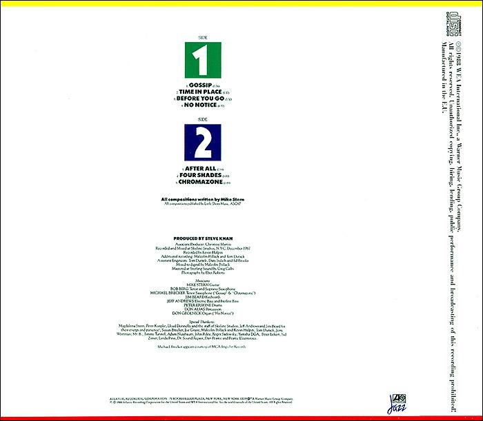 Mike Stern.  Time in Place Warner Music,Wea International Inc.