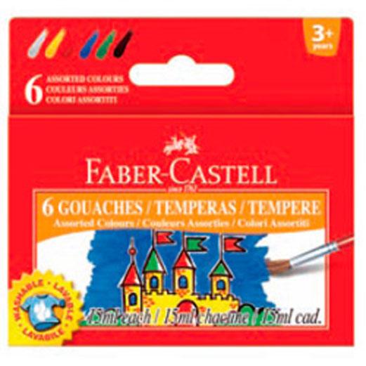 Гуашь Faber-Castell, 6 цветов161106Гуашь Faber-Castell предназначена для декоративно-оформительских работ и творчества детей.В набор входят краски 6 цветов: белый, красный, желтый, зеленый, синий, черный.Они легко наносятся на бумагу, картон и грунтованный холст. При высыхании приобретают матовую, бархатистую поверхность.Гуашевые краски, имея оптимальную цветовую палитру, обладают оптимальной степенью укрывистости. При высыхании краски можно развести водой.С такими красками ваш малыш сможет раскрыть свой художественный талант и создать свои собственные уникальные шедевры.