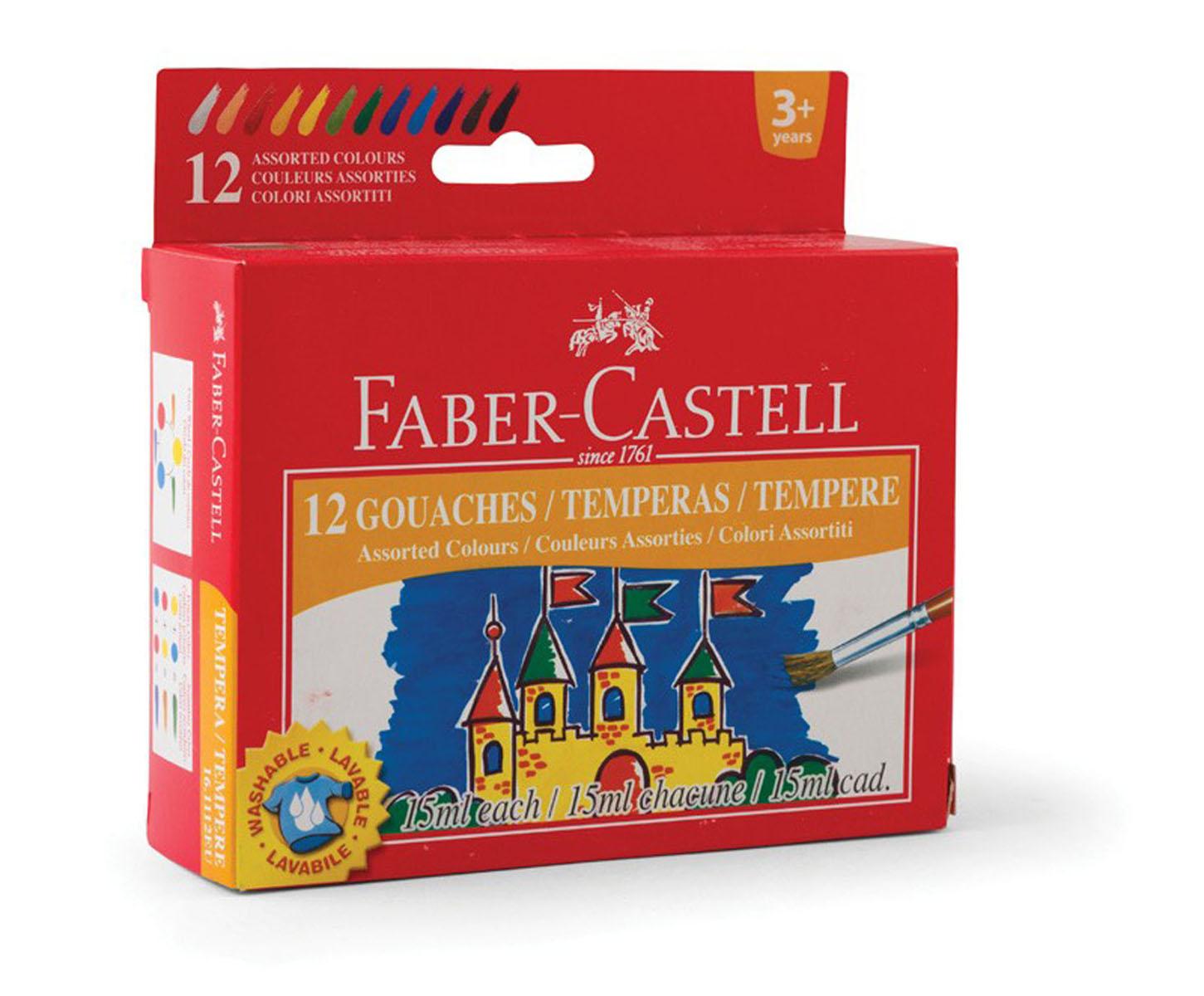 Гуашь Faber-Castell, 12 цветов161112Гуашь Faber-Castell предназначена для декоративно-оформительских работ и творчества детей.В набор входят краски 12 цветов: белый, розовый, красный, оранжевый, желтый, светло-зеленый, зеленый, синий, голубой, фиолетовый, коричневый, черный.Они легко наносятся на бумагу, картон и грунтованный холст. При высыхании приобретают матовую, бархатистую поверхность. Гуашевые краски, имея оптимальную цветовую палитру, обладают оптимальной степенью укрывистости. При высыхании краски можно развести водой. С такими красками ваш малыш сможет раскрыть свой художественный талант и создать свои собственные уникальные шедевры.