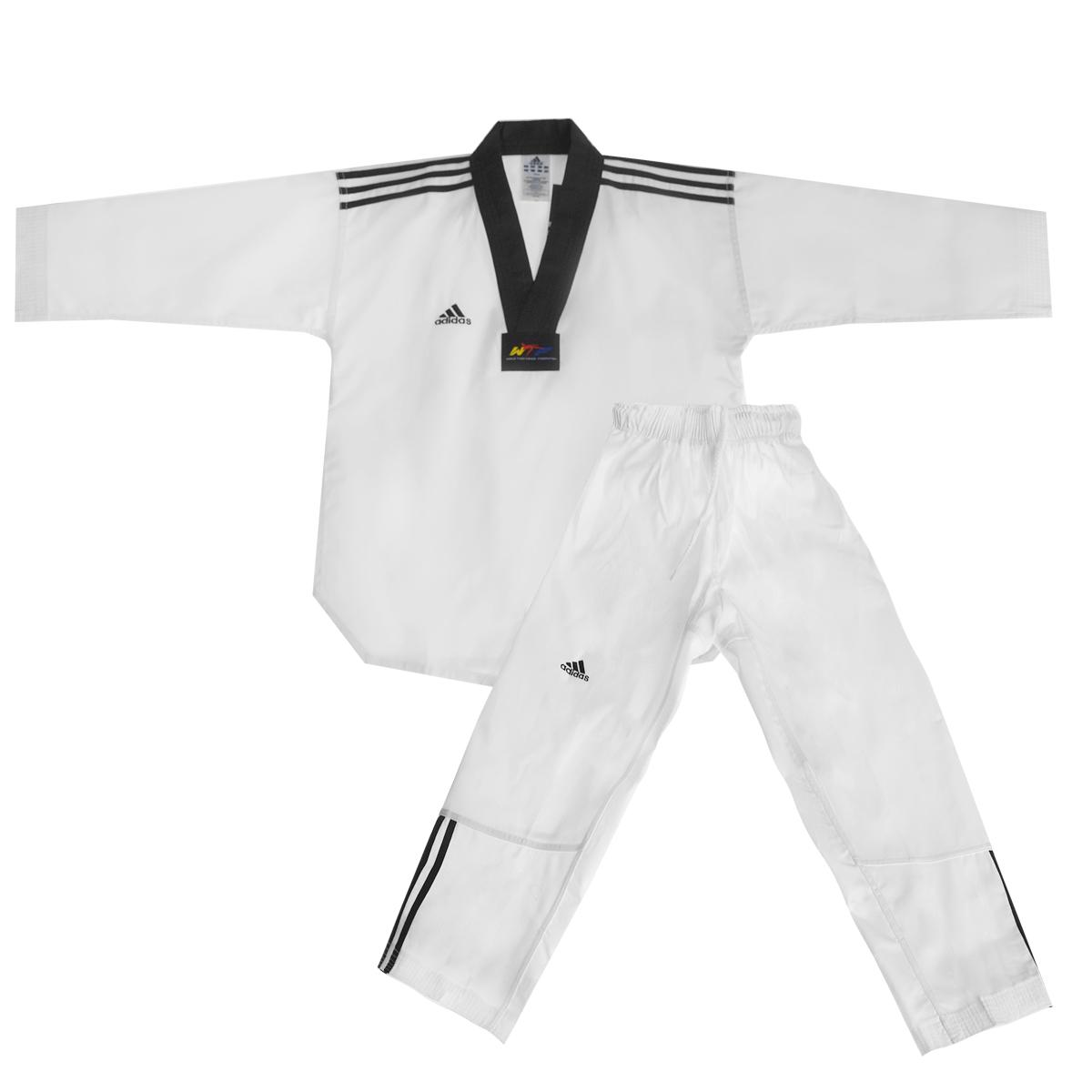 Кимоно для тхэквондо adidas WTF Adi-Club 3, цвет: белый, черный. adiTCB02-WH/BK. Размер 150adiTCB02-WH/BKКимоно для тхэквондо adidas WTF Adi-Club 3 состоит из рубашки и брюк. Просторная рубашка без пояса с V-образным вырезом горловин, боковыми разрезами и длинными рукавами изготовлена из плотного полиэстера с добавлением хлопка. Боковые швы, края рукавов и полочка укреплены дополнительными строчками. В области талии по спинке рубашка дополнена эластичной резинкой для регулирования ширины.Просторные брюки особого покроя имеют широкий эластичный пояс, регулируемый скрытым шнурком. Низ брючин с внутренней стороны укреплен дополнительными строчками.Кимоно рекомендуется для тренировок в зале.