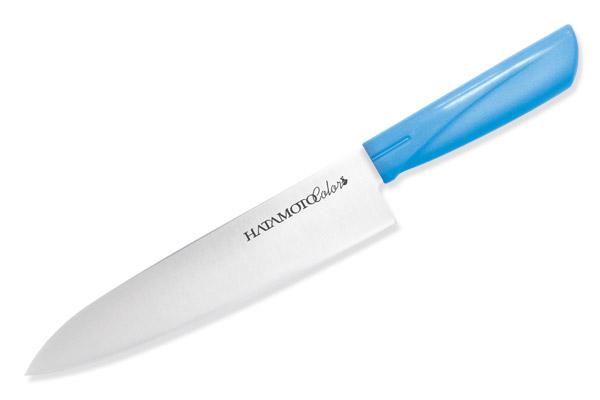 Нож поварской Hatamoto Color, цвет: голубой, длина лезвия 18 см3014-BLUПоварской нож Hatamoto Color выполнен из высокоуглеродистой стали 1К6 и прошел дополнительную криообработку при температуре - 70°С, что обеспечивает дополнительную гибкость и однородность структуры для более продолжительного удержания режущей кромки при работе. Рукоятка ножа изготовлена из высококачественного пластика. Тыльная сторона рукояти гладкая, что уменьшает напряжение и увеличивает комфорт при работе, а внутренняя сторона выполнена зернистой, для более цепкого хвата даже в мокрых и намасленных руках, что предотвратит травмы на кухне. Такой нож прекрасно подойдет для очистки, разделки и нарезки фруктов, овощей и мяса. Ножи Hatamoto Color обладают уникальной геометрией клинков, а также в процессе производства подвергаются инновационным способам обработки стали, что на выходе позволило создать ножи в сегменте эконом класса, но с характеристиками клинков ни чем не уступающих профессиональным, а порой превосходящих их по качеству и плавности реза. Правила эксплуатации: - Хранить нож следует в сухом месте. - После использования, промойте нож теплой водой и протрите насухо. - Оставление ножа в загрязненном состоянии может привести к образованию коррозии. Запрещается: - Мыть нож в посудомоечной машине. - Хранить ножи в одной емкости со столовыми приборами. - Резать на твердых поверхностях: каменных столешницах, керамических тарелках, акриловых досках. - Запрещается нецелевое использование ножа: вскрывать консервные банки, разрезать кости, скоблить твердые поверхности, резать замороженные продукты. Правка производится легкими движениями на водном камне или мусате. Заточка ножа - сложный технологический процесс, должен производиться профессионалом на специальном оборудовании. Услуга по заточке ножа предоставляется специалистами компании «Тоджиро». Общая длина ножа: 30,5 см.Уважаемые клиенты! В случае несоблюдения правил эксплуатации, нож не подлежит гарантийному обслуживанию.