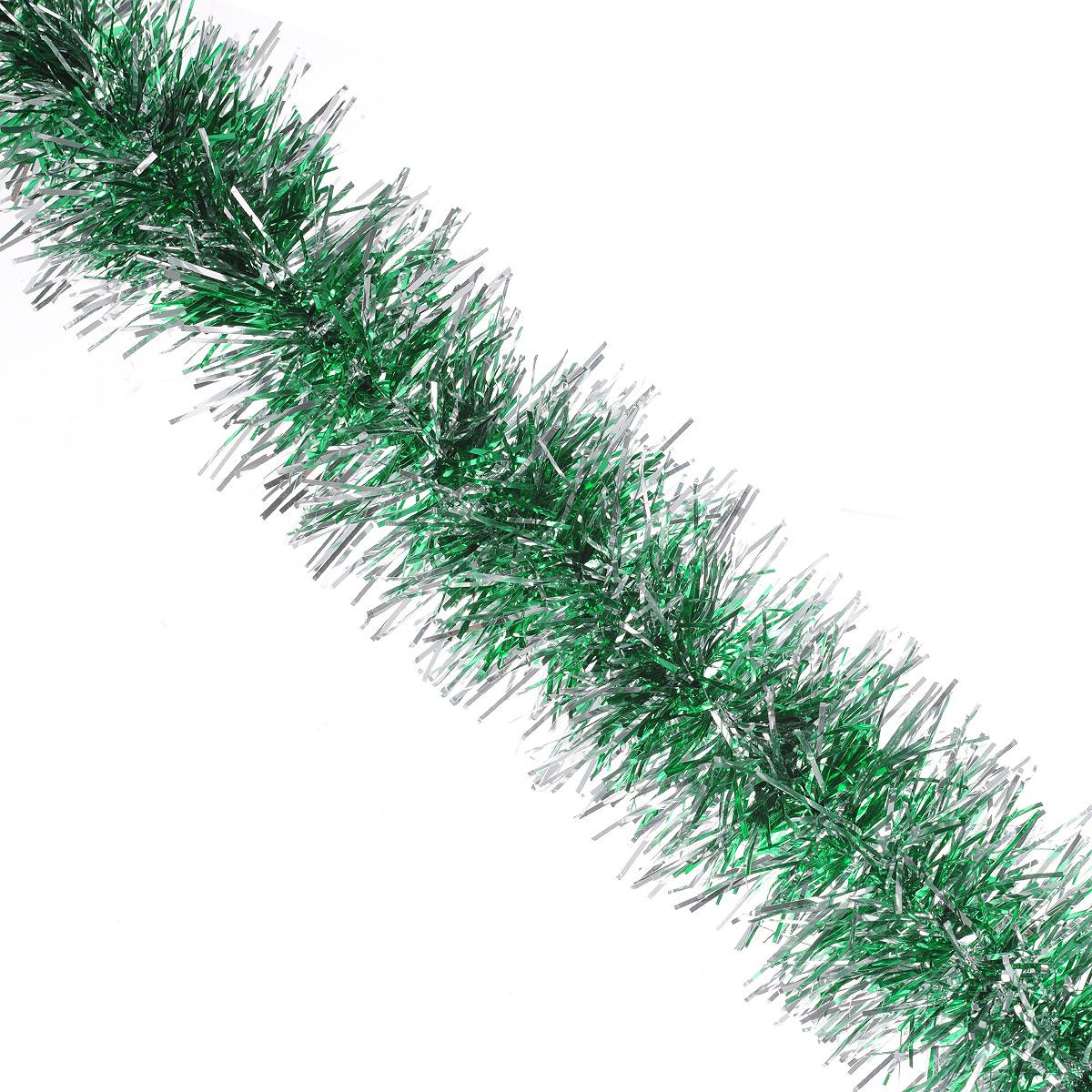 Мишура новогодняя Sima-land, цвет: серебристый, зеленый, диаметр 7 см, длина 150 см. 775876775876Мишура новогодняя Sima-land, выполненная из двухцветной фольги, поможет вам украсить свой дом к предстоящим праздникам. Мишура армирована, то есть имеет проволоку внутри и способна сохранять приданную ей форму.Новогодняя елка с таким украшением станет еще наряднее. Новогодней мишурой можно украсить все, что угодно - елку, квартиру, дачу, офис - как внутри, так и снаружи. Можно сложить новогодние поздравления, буквы и цифры, мишурой можно украсить и дополнить гирлянды, можно выделить дверные колонны, оплести дверные проемы. Коллекция декоративных украшений из серии Зимнее волшебство принесет в ваш дом ни с чем несравнимое ощущение праздника! Создайте в своем доме атмосферу тепла, веселья и радости, украшая его всей семьей.