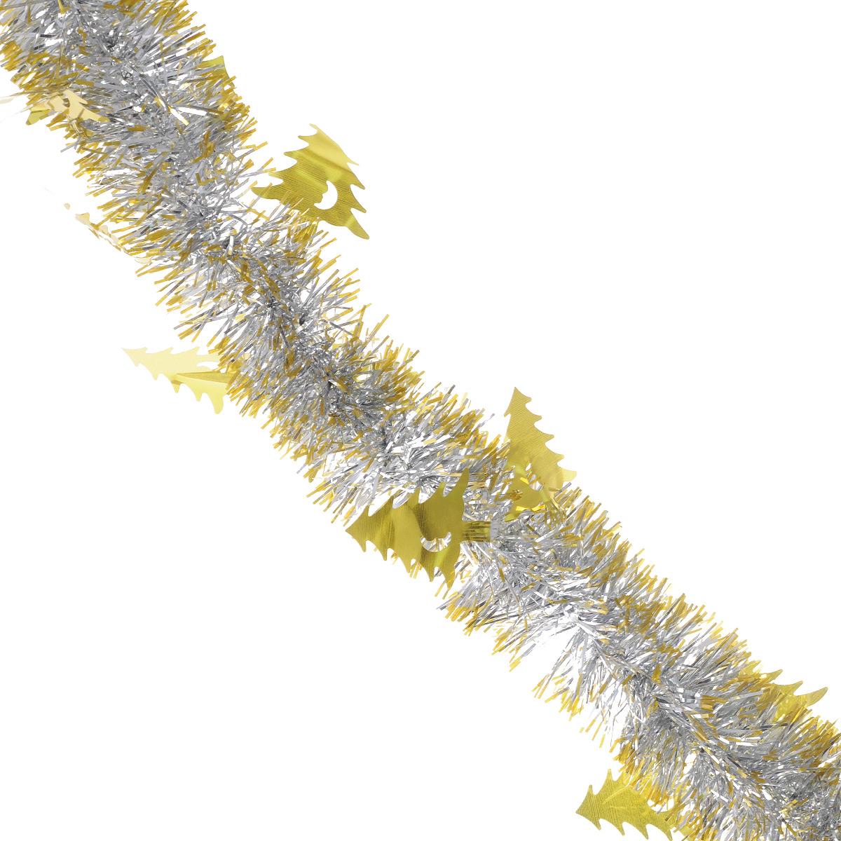 Мишура новогодняя Sima-land, цвет: золотистый, серебристый, диаметр 5 см, длина 2 м. 702614702614Новогодняя мишура Sima-land, выполненная из фольги, поможет вам украсить свой дом к предстоящим праздникам. А новогодняя елка с таким украшением станет еще наряднее. Мишура армирована, то есть имеет проволоку внутри и способна сохранять приданную ей форму.Новогодней мишурой можно украсить все, что угодно - елку, квартиру, дачу, офис - как внутри, так и снаружи. Можно сложить новогодние поздравления, буквы и цифры, мишурой можно украсить и дополнить гирлянды, можно выделить дверные колонны, оплести дверные проемы. Коллекция декоративных украшений из серии Зимнее волшебство принесет в ваш дом ни с чем несравнимое ощущение праздника! Создайте в своем доме атмосферу тепла, веселья и радости, украшая его всей семьей.