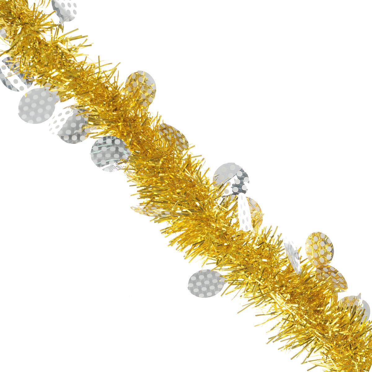 """Пушистая новогодняя мишура """"Sima-land"""", выполненная из двухцветной фольги, поможет вам  украсить свой дом к предстоящим праздникам. А новогодняя елка с таким украшением станет  еще наряднее. Мишура армирована, то есть имеет проволоку внутри и способна сохранять  приданную ей форму.  Новогодней мишурой можно украсить все, что угодно - елку, квартиру, дачу, офис - как внутри, так  и снаружи. Можно сложить новогодние поздравления, буквы и цифры, мишурой можно украсить и  дополнить гирлянды, можно выделить дверные колонны, оплести дверные проемы."""
