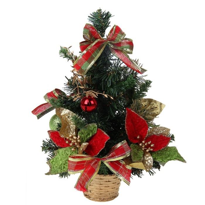 Декоративное украшение Sima-land Новогодняя елочка, цвет: зеленый, высота 30 см. 813184813184Декоративное украшение, выполненное из пластика - мини-елочка в пластиковом горшке для оформления интерьера к Новому году. Ее не нужно ни собирать, ни наряжать, зато настроение праздника она создает очень быстро.Елка украшена шариками, текстильными бантами, листочками, веточками. Елка украсит интерьер вашего дома или офиса к Новому году и создаст теплую и уютную атмосферу праздника.Откройте для себя удивительный мир сказок и грез. Почувствуйте волшебные минуты ожидания праздника, создайте новогоднее настроение вашим дорогим и близким.