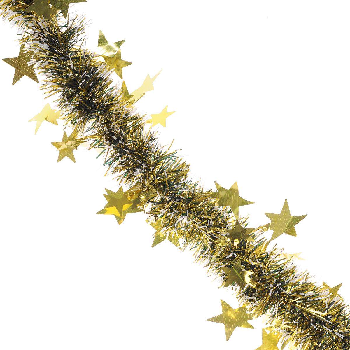 Мишура новогодняя Sima-land, цвет: золотистый, диаметр 5 см, длина 2 м. 702616702616Новогодняя мишура Sima-land, выполненная из фольги с белыми кончиками и декорированная звездочками, поможет вам украсить свой дом к предстоящим праздникам. А новогодняя елка с таким украшением станет еще наряднее. Мишура армирована, то есть имеет проволоку внутри и способна сохранять приданную ей форму. Новогодней мишурой можно украсить все, что угодно - елку, квартиру, дачу, офис - как внутри, так и снаружи. Можно сложить новогодние поздравления, буквы и цифры, мишурой можно украсить и дополнить гирлянды, можно выделить дверные колонны, оплести дверные проемы. Коллекция декоративных украшений из серии Зимнее волшебство принесет в ваш дом ни с чем несравнимое ощущение праздника! Создайте в своем доме атмосферу тепла, веселья и радости, украшая его всей семьей.