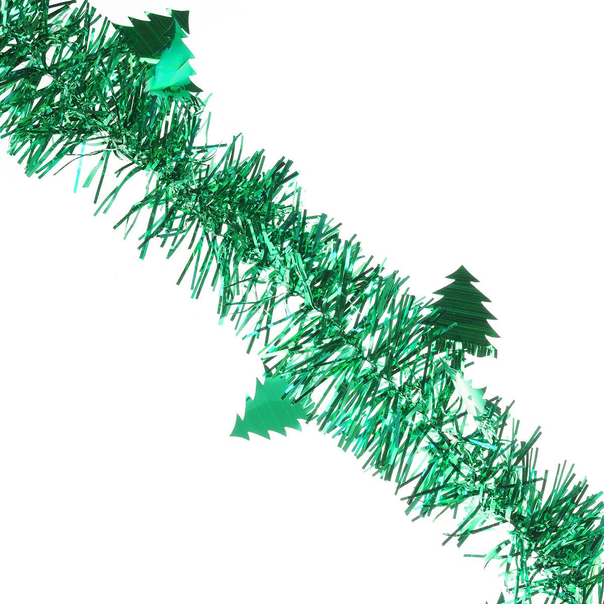 Мишура новогодняя Sima-land, цвет: зеленый, диаметр 8 см, длина 2 м. 702595702595Мишура новогодняя Sima-land, выполненная из фольги, поможет вам украсить свой дом к предстоящим праздникам. Мишура декорирована елочками и армирована, то есть имеет проволоку внутри и способна сохранять приданную ей форму. Новогодняя елка с таким украшением станет еще наряднее. Новогодней мишурой можно украсить все, что угодно - елку, квартиру, дачу, офис - как внутри, так и снаружи. Можно сложить новогодние поздравления, буквы и цифры, мишурой можно украсить и дополнить гирлянды, можно выделить дверные колонны, оплести дверные проемы. Коллекция декоративных украшений из серии Зимнее волшебство принесет в ваш дом ни с чем несравнимое ощущение праздника! Создайте в своем доме атмосферу тепла, веселья и радости, украшая его всей семьей.