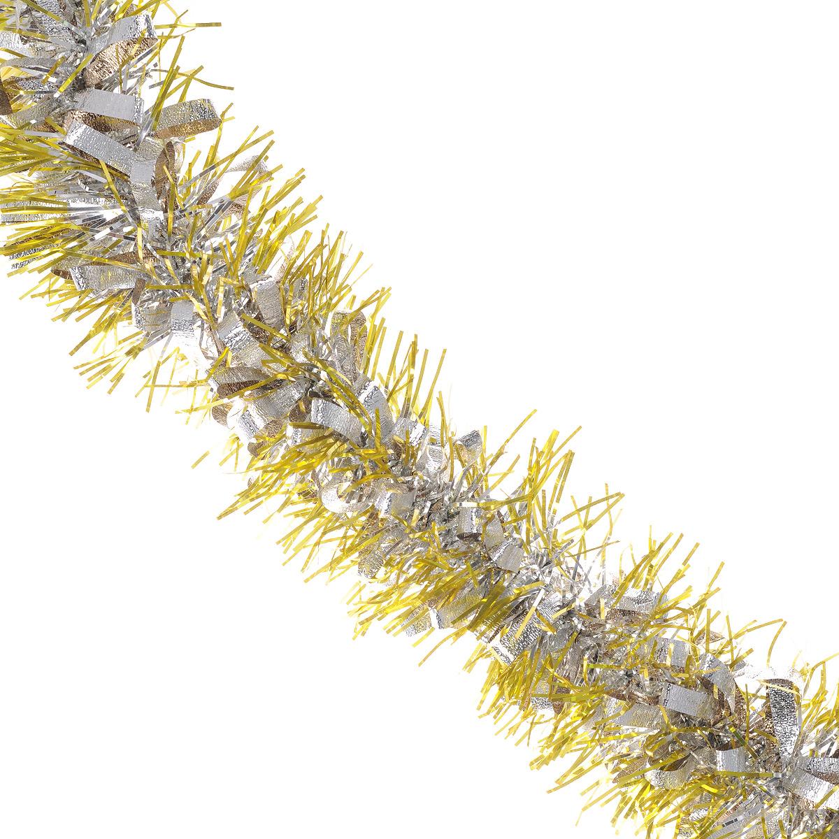 Мишура новогодняя Sima-land, цвет: золотистый, серебристый, диаметр 8 см, длина 2 м. 702579702579Мишура новогодняя Sima-land, выполненная из двухцветной фольги, поможет вам украсить свой дом к предстоящим праздникам. Мишура армирована, то есть имеет проволоку внутри и способна сохранять приданную ей форму.Новогодняя елка с таким украшением станет еще наряднее. Новогодней мишурой можно украсить все, что угодно - елку, квартиру, дачу, офис - как внутри, так и снаружи. Можно сложить новогодние поздравления, буквы и цифры, мишурой можно украсить и дополнить гирлянды, можно выделить дверные колонны, оплести дверные проемы. Коллекция декоративных украшений из серии Зимнее волшебство принесет в ваш дом ни с чем несравнимое ощущение праздника! Создайте в своем доме атмосферу тепла, веселья и радости, украшая его всей семьей.