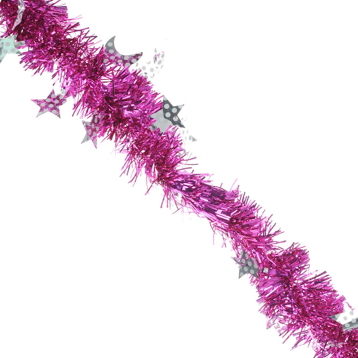 Мишура новогодняя Sima-land, цвет: серебристый, фиолетовый, диаметр 6 см, длина 2 м. 825974 свеча ароматизированная sima land лимон на подставке высота 6 см