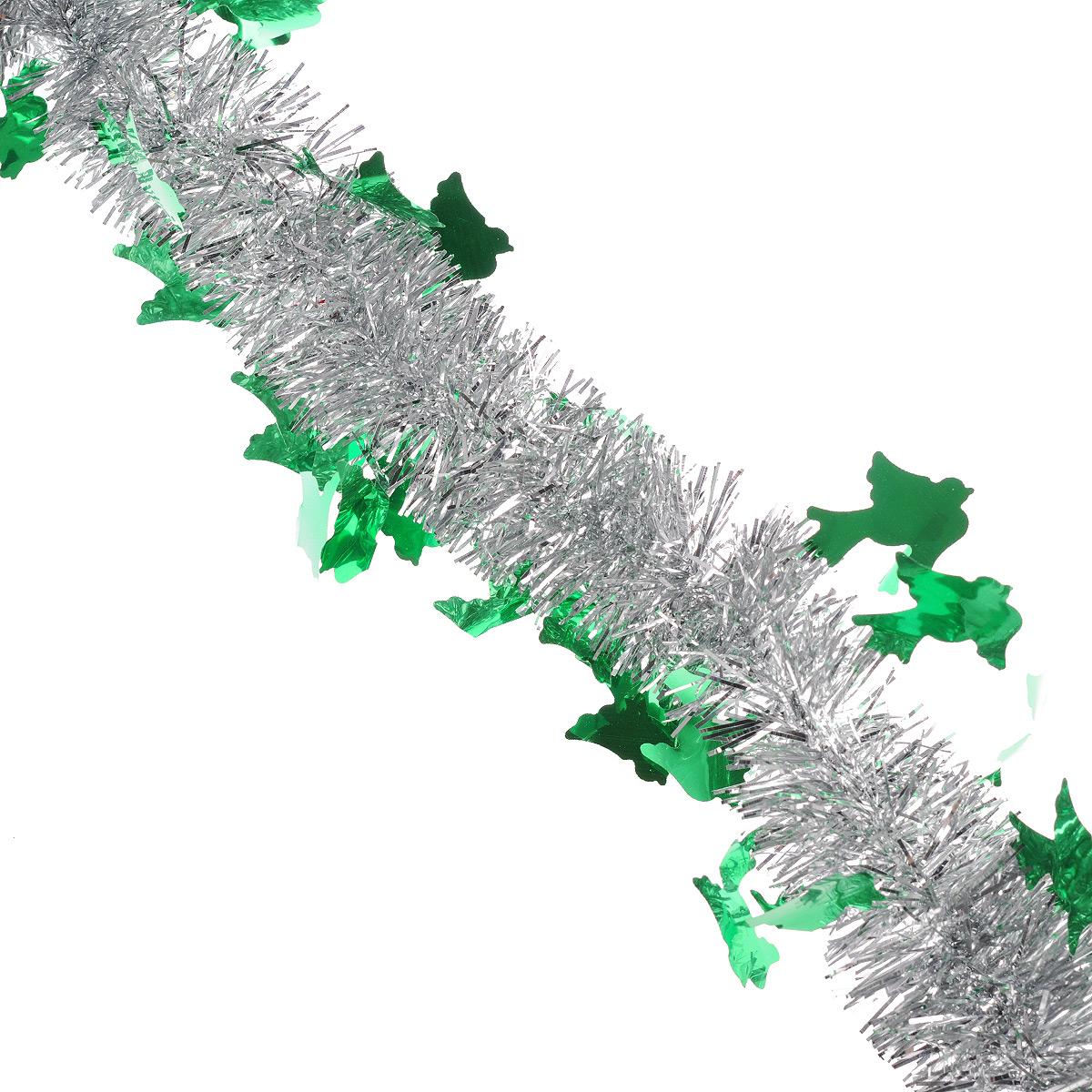 Мишура новогодняя Sima-land, цвет: серебристый, зеленый, диаметр 5 см, длина 2 м. 702618702618Мишура новогодняя Sima-land, выполненная из двухцветной фольги, поможет вам украсить свой дом к предстоящим праздникам. Мишура армирована, то есть имеет проволоку внутри и способна сохранять приданную ей форму.Новогодняя елка с таким украшением станет еще наряднее. Новогодней мишурой можно украсить все, что угодно - елку, квартиру, дачу, офис - как внутри, так и снаружи. Можно сложить новогодние поздравления, буквы и цифры, мишурой можно украсить и дополнить гирлянды, можно выделить дверные колонны, оплести дверные проемы. Коллекция декоративных украшений из серии Зимнее волшебство принесет в ваш дом ни с чем несравнимое ощущение праздника! Создайте в своем доме атмосферу тепла, веселья и радости, украшая его всей семьей.