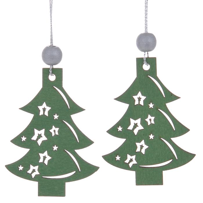 Набор Sima-land состоит из подвесных украшений, которые  отлично подойдут для декорации вашего дома и новогодней ели. Игрушки  выполнены из дерева в виде новогодних елей, декорированных резными узорами.  Украшения оснащены специальными текстильными петельками для подвешивания.  Елочная игрушка - символ Нового года. Она несет в себе волшебство и красоту  праздника. Создайте в своем доме атмосферу веселья и радости, украшая всей  семьей новогоднюю елку нарядными игрушками, которые будут из года в год  накапливать теплоту воспоминаний.