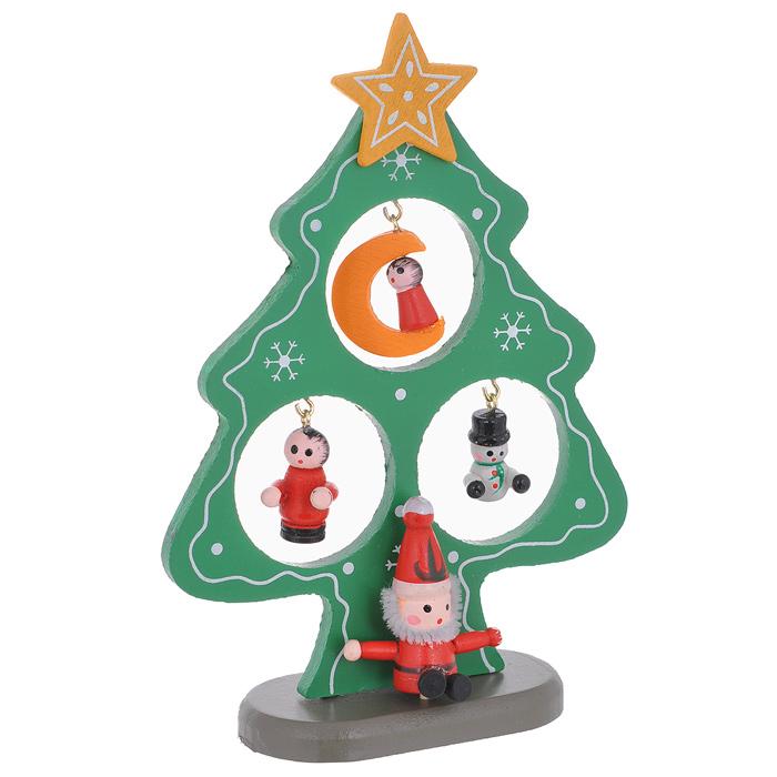 Украшение новогоднее Sima-land Ель на подставке, цвет: зеленый, 15 см. 35693154285Украшение новогоднее Sima-land Ель на подставке изготовлено из дерева. В комплект к ели прилагаются различные деревянные игрушки, а также подставка.Красивое новогоднее украшение будет готово, стоит подвесить игрушки на елку. Новогодняя игрушка - символ Нового года. Она несет в себе волшебство и красоту праздника. Создайте в своем доме атмосферу веселья и радости, украшая новогоднюю елку нарядными игрушками, которые будут из года в год накапливать теплоту воспоминаний. Коллекция декоративных украшений принесет в ваш дом ни с чем несравнимое ощущение волшебства! Откройте для себя удивительный мир сказок и грез. Почувствуйте волшебные минуты ожидания праздника, создайте новогоднее настроение вашим дорогим и близким.