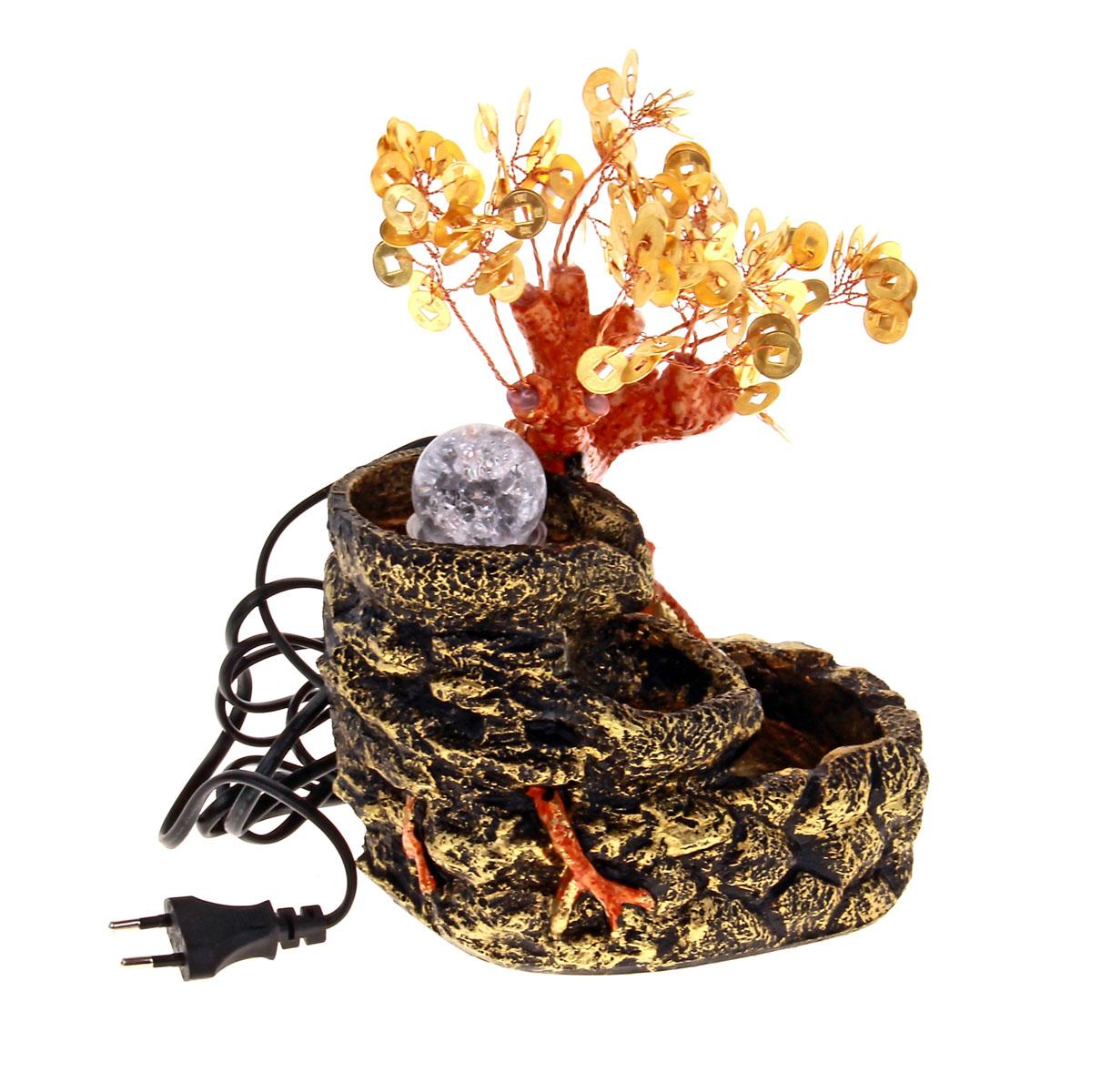 Фонтан Sima-land Монетное дерево140538Фонтан Sima-land Монетное дерево, изготовленный из полистоуна, украсит интерьер любого помещения. Изделие выполнено в виде источника рядом с деревом бонсай с листьями в виде монет. В центр источника помещается стеклянный шар, который подсвечивается светодиодами и левитирует над водой при включении фонтана. По древнекитайскому учению Фен-Шуй фонтаны являются символами жизненной энергии, изобилия. В комнате их нужно размещать в зоне карьеры и удачи. Тогда фонтаны привлекут в ваш дом богатство, материальный достаток. Даже если вы не являетесь поклонником Фен-Шуй, фонтаны наполнят помещение тихим, мелодичным журчанием воды, что благотворно скажется на вашей нервной системе и позволит снять стресс.Каждому хозяину периодически приходит мысль обновить свою квартиру, сделать ремонт, перестановку или кардинально поменять внешний вид каждой комнаты. Фонтан - привлекательная деталь в обстановке, которая поможет воплотить вашу интерьерную идею, создать неповторимую атмосферу в вашем доме. Окружите себя приятными мелочами, пусть они радуют взгляд и дарят гармонию. Фонтан работает от сети 220В.