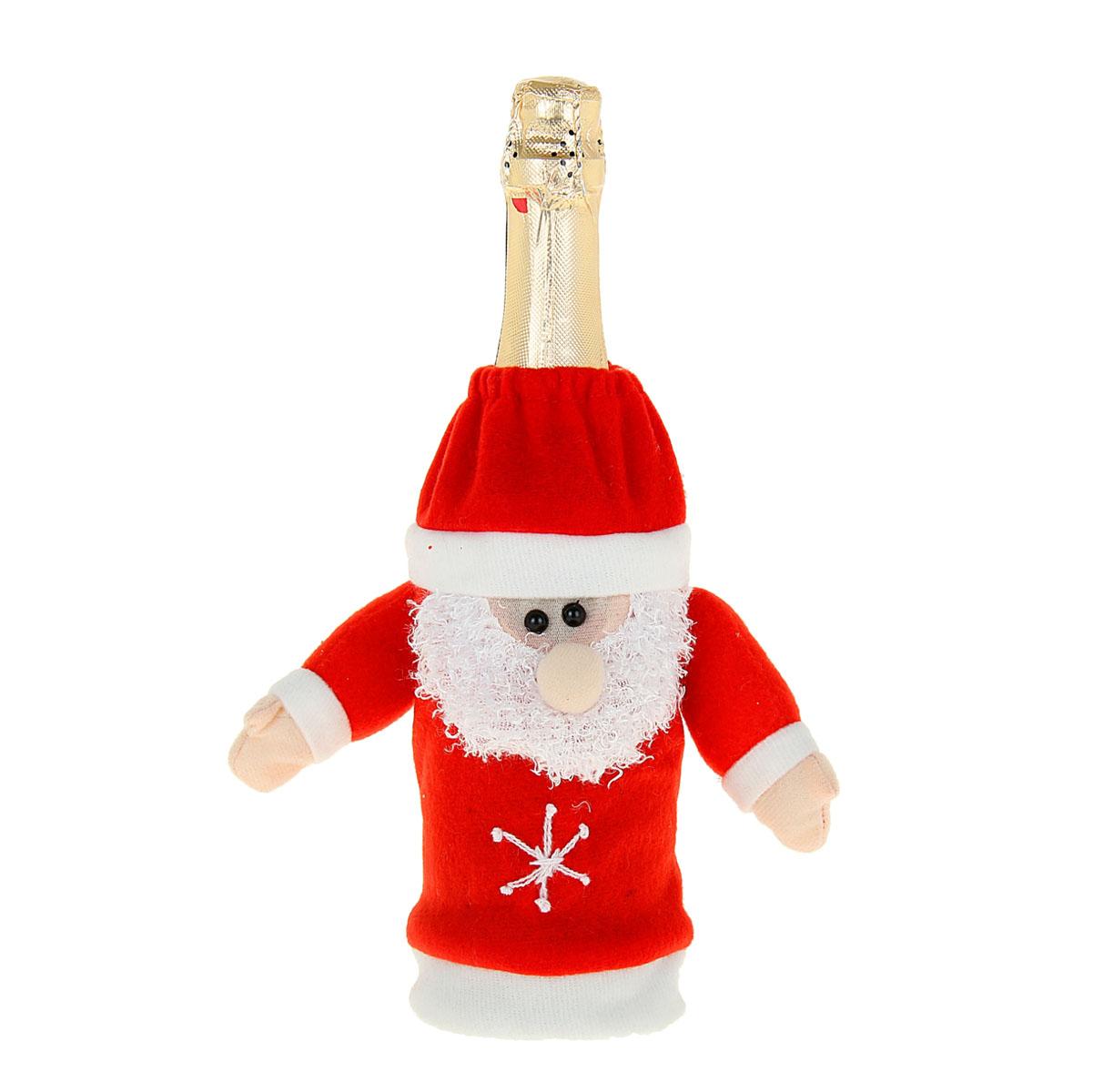 Новогодний чехол на бутылку Sima-land Дед Мороз, цвет: красный, белый. 333463333463Новогодний чехол на бутылку Sima-land Дед Мороз послужит оригинальным вариантом оформления бутылки вина или шампанского. Чехол выполнен из текстиля в виде Деда Мороза. Благодаря такому чехлу даже обычное шампанское превратится в приятный презент.Размер чехла (без учета рук): 14 см х 23 см.