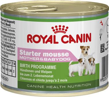 Консервы Royal Canin Starter Mousse, для щенков и кормящих собак, 195 г664002Консервы Royal Canin Starter Mousse - полнорационный влажный корм для сук в конце беременности и в период лактации, а также для щенков от момента отъема до 2 месяцев.Данное диетологическое решение было разработано специально для удовлетворения особых потребностей в питании суки во время беременности и лактации, а также для облегчения перехода с сучьего молока на сухой рацион для щенков (от момента отъема до 2 месяцев). Состав: мясо и мясные субпродукты, злаки, субпродукты растительного происхождения, масла и жиры, молоко и продукты его переработки, минеральные вещества, дрожжи. Добавки (в 1 кг): Питательные добавки: Витамин D3: 120 ME, Железо: 4 мг, Йод: 0,17 мг, Марганец: 1,3 мг, Цинк: 13 мг. Товар сертифицирован.