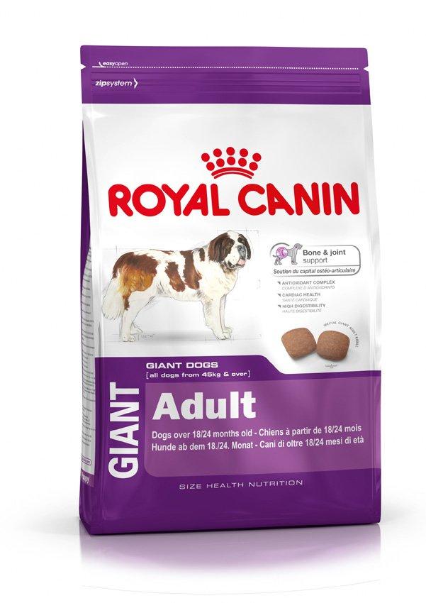 Корм сухой Royal Canin Giant Adult, для взрослых собак очень крупных размеров, 4 кг340040-133040Сухой корм Royal Canin Giant Adult - полнорационный сухой корм для взрослых собак очень крупных размеров (вес взрослой собаки более 45 кг) в возрасте старше 18/24 месяцев.Здоровье костей и суставов.Формула способствует поддержанию здоровья костей и суставов взрослых собак очень крупных размеров.Комплекс антиоксидантов.Уникальный комплекс антиоксидантов способствует нейтрализации свободных радикалов.Здоровое сердце.Формула содержит таурин, который способствует поддержанию здоровья сердца.Высокая перевариваемость.Позволяет обеспечить оптимальную перевариваемость благодаря уникальной формуле, содержащей высококачественные белки и идеальный баланс диетической клетчатки.Состав: дегидратированные белки животного происхождения (птица),кукуруза, кукурузная мука, животные жиры, пшеница, рис, гидролизат белков животного происхождения, кукурузная клейковина, свекольный жом, изолят растительных белков, рыбий жир, растительная клетчатка, дрожжи, соевое масло, минеральные вещества, масло огуречника аптечного, гидролизат из панциря ракообразных (источник глюкозамина), экстракт бархатцев прямостоячих (источник лютеина), гидролизат из хряща (источник хондроитина).Добавки (в 1 кг): Питательные добавки: Витамин A: 21500 ME, Витамин D3: 1000 ME, Железо: 41 мг, Йод: 4,1 мг, Марганец: 53 мг, Цинк: 159 мг, Ceлeн: 0,09 мг, Таурин: 1,3 г, Консервант: сорбат калия, Антиокислители: пропилгаллат, БГА.Товар сертифицирован.