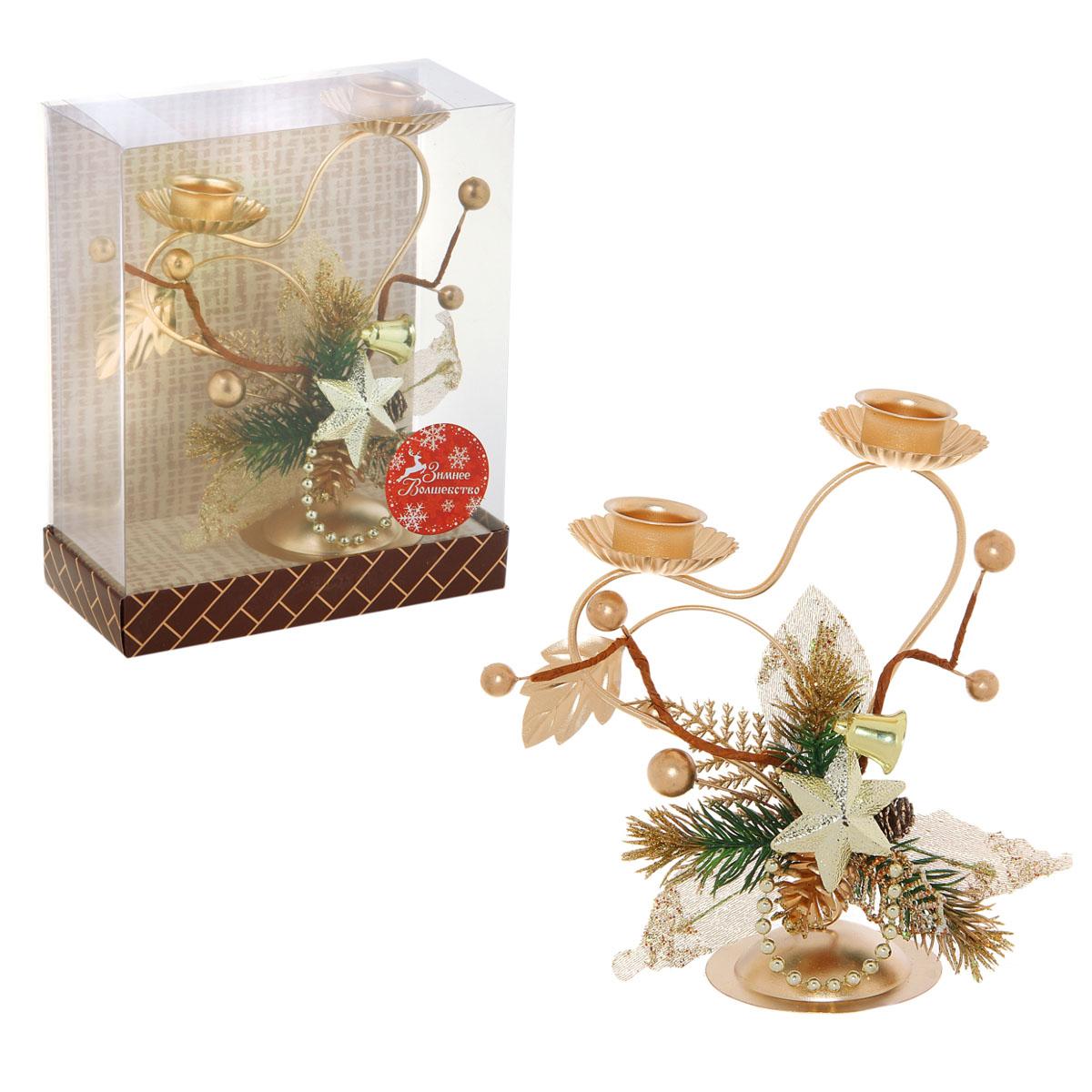 Подсвечник Sima-land Ажур, на 2 свечи, цвет: золотистый свеча ароматизированная sima land лимон на подставке высота 6 см
