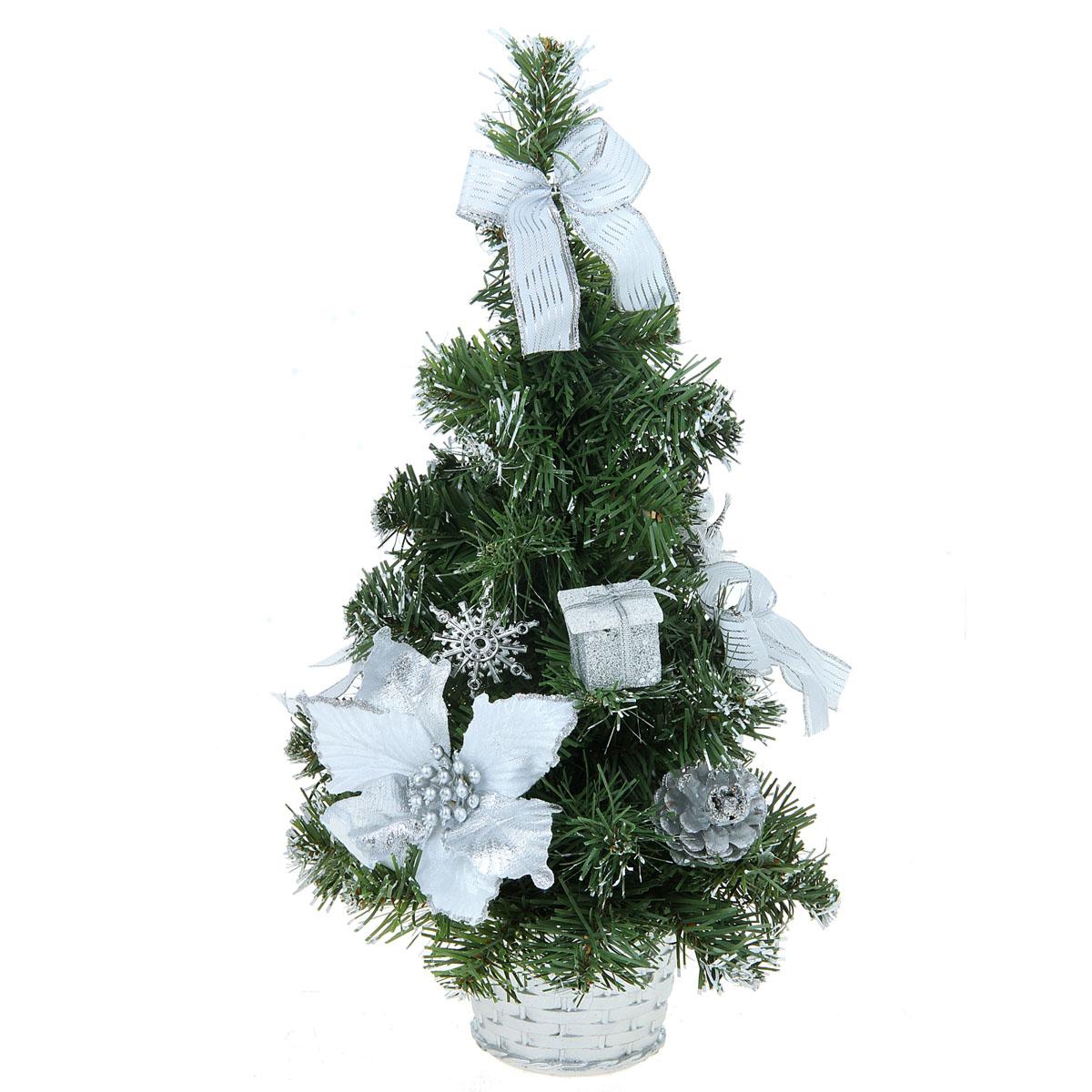 Декоративное украшение Sima-land Новогодняя елочка, цвет: серебристый, зеленый, высота 40 см. 706054706054Декоративное украшение Sima-land, выполненное из пластика - мини-елочка для оформления интерьера к Новому году. Ее не нужно ни собирать, ни наряжать, зато настроение праздника она создает очень быстро.Елка украшена текстильными бантами, шишками, шарами, блестками и снежинками. Елка украсит интерьер вашего дома или офиса к Новому году и создаст теплую и уютную атмосферу праздника.Откройте для себя удивительный мир сказок и грез. Почувствуйте волшебные минуты ожидания праздника, создайте новогоднее настроение вашим дорогим и близким.